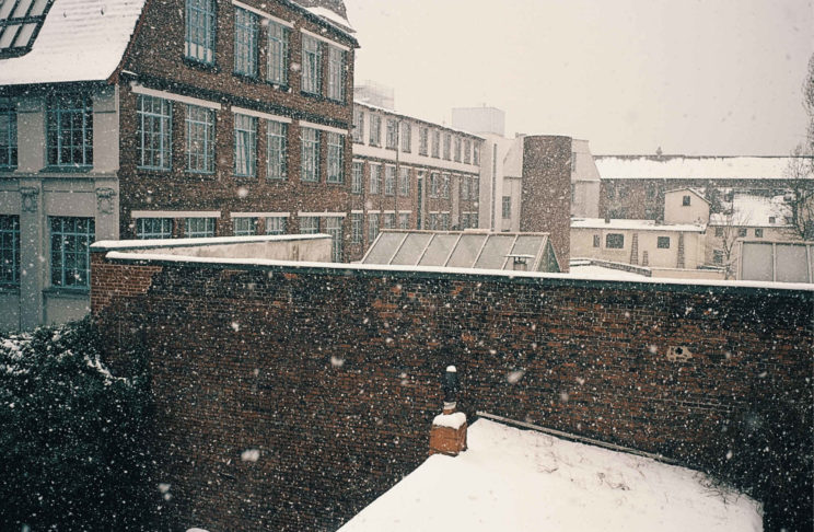 snow, city, building, brickwall